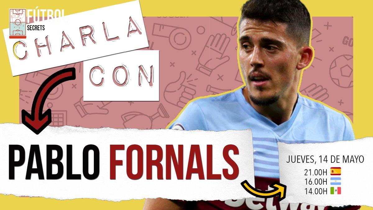 💥PABLO FORNALS💥@pablofornals pasará por nuestro canal el próximo jueves día 14 de mayo para charlar de fútbol. Pon la alarma del📱!!! Horarios: 21:00h 🇪🇸 17:00h 🇦🇷 🇵🇾 🇺🇾 🇨🇱 16:00h 🇻🇪 🇧🇴 15:00h 🇨🇴 🇪🇨 🇵🇪 14:00h 🇲🇽