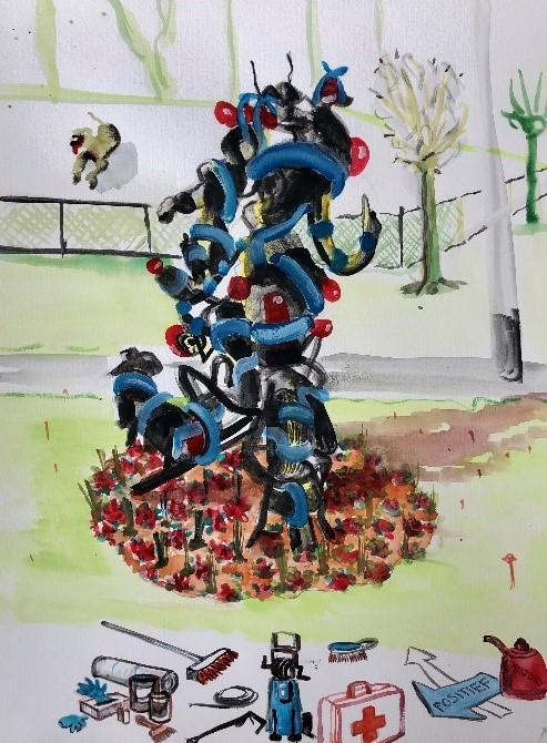 Kunstenaar David Bade gaat van het zwartegeblakerde kunstwerk 'Babyblauw past bij jou' in Rennemig opnieuw iets bijzonders maken. Buurtbewoners, gemeente en SCHUNCK hebben de handen ineengeslagen om dit mogelijk te maken. https://t.co/XvF704nAty https://t.co/HyqHLt8nkS