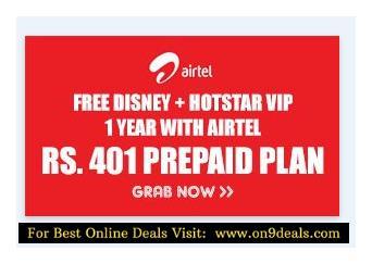 Disney + Hotstar VIP 1 Year With Airtel Rs.401 Prepaid Plan