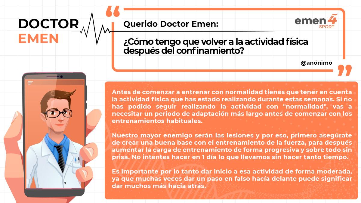📌 Hace unas semana nos llego esta consulta al Dr. Emen, de la mano de un usuario anónimo de Instagram.  ¿Cómo tengo que volver a la actividad física después del confinamiento ?  ¡Coméntanos tu caso! https://t.co/LRnKemJRrf  #deporte #rendimiento #DrEmen #ConsultaDrEmen https://t.co/aZpgI8Srde