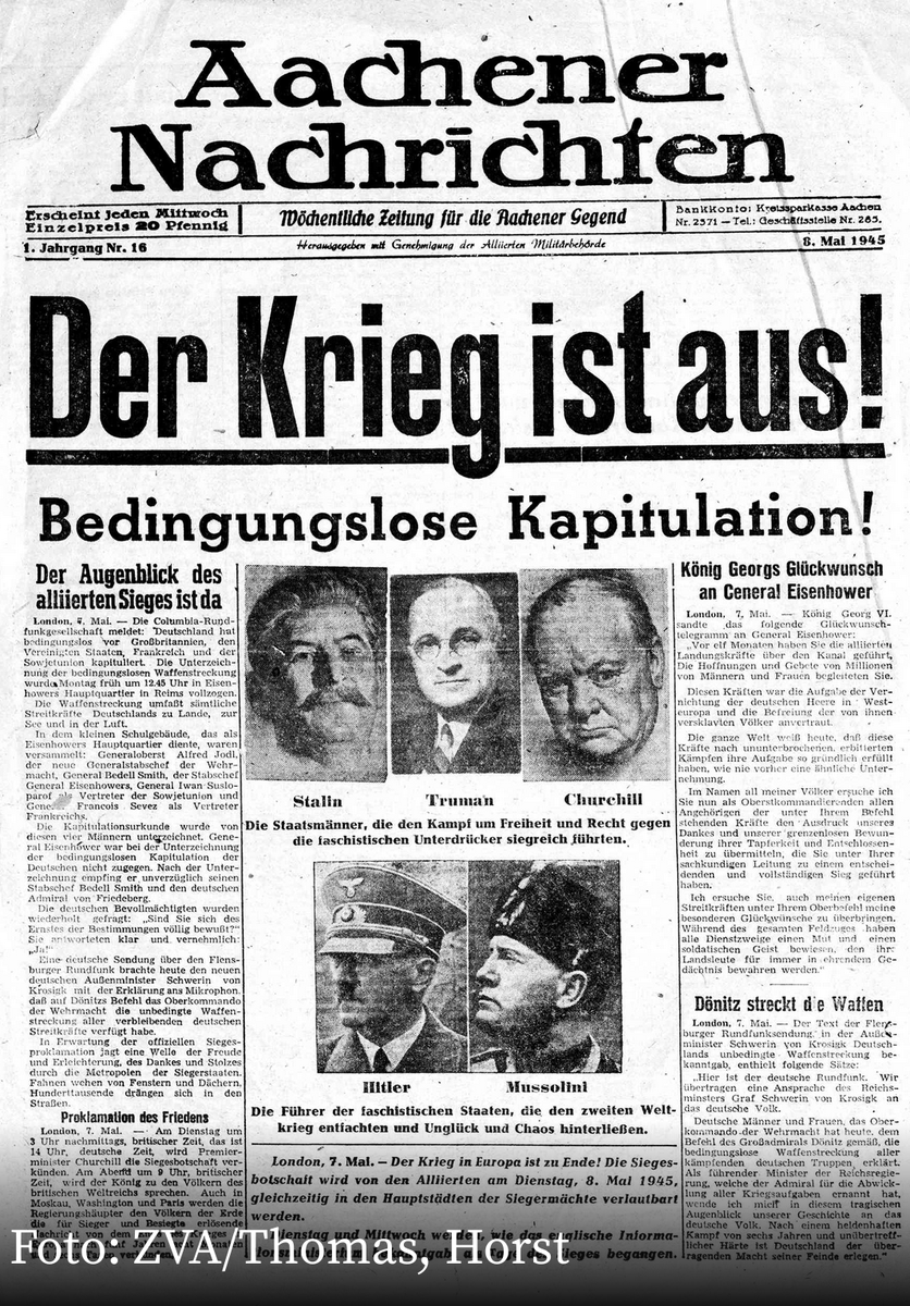 Today, 75 years ago: Unconditional surrender of Nazi Germany - truly a day of liberation, also for the Germans! #TagDerBefreiung #VEDay #NieWieder <br>http://pic.twitter.com/bzQgZa7R3m