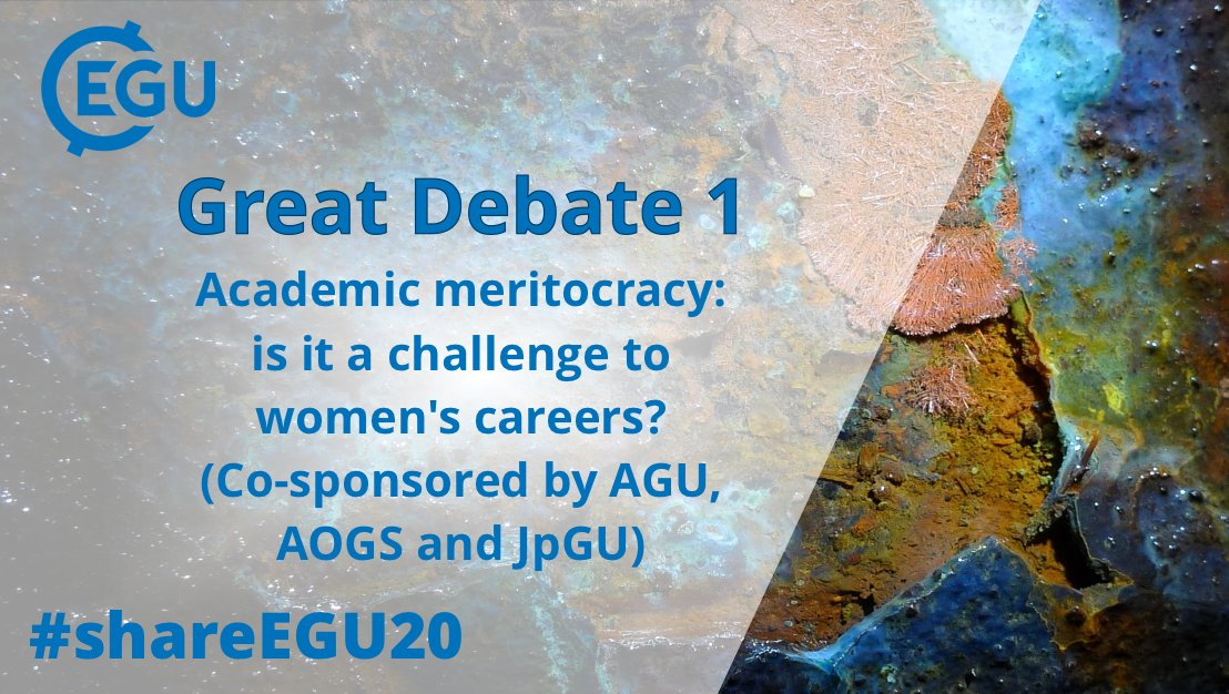 Did you miss Wednesday's #shareEGU20 Great Debate: GDB1: Academic meritocracy: is it a challenge to women's careers? (Co-sponsored by @theAGU, @AOGS_ & @JpGU)?  Well don't worry, it's available on our YouTube channel now! Check it out: https://t.co/Mc70NUOjjo https://t.co/5N04njJeuk