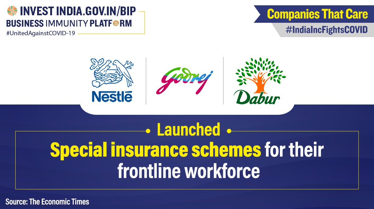 #CompaniesThatCare  @Nestle, @DaburIndia & @GodrejGroup are providing medical insurance to their frontline workforce, including distributors, ensuring a steady supply of essentials during the #COVID19 pandemic. Find similar updates at https://t.co/VlbfWYav8n   #IndiaFightsCorona https://t.co/WOt3tJC0Ch