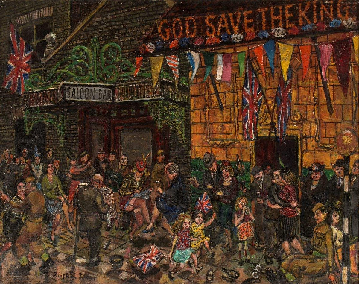 "The Art that Captured VE Day - from the private collection of John Noott - ""VE Night"" by Ruskin Spear CBE RA (1911 - 1990) Londoners celebrating For enquiries please email jon@john-noott.com or tel. 01386 852787 #VEDay #VEDayart #artVEDay #WW2art #ruskinspear #artistruskinspear"