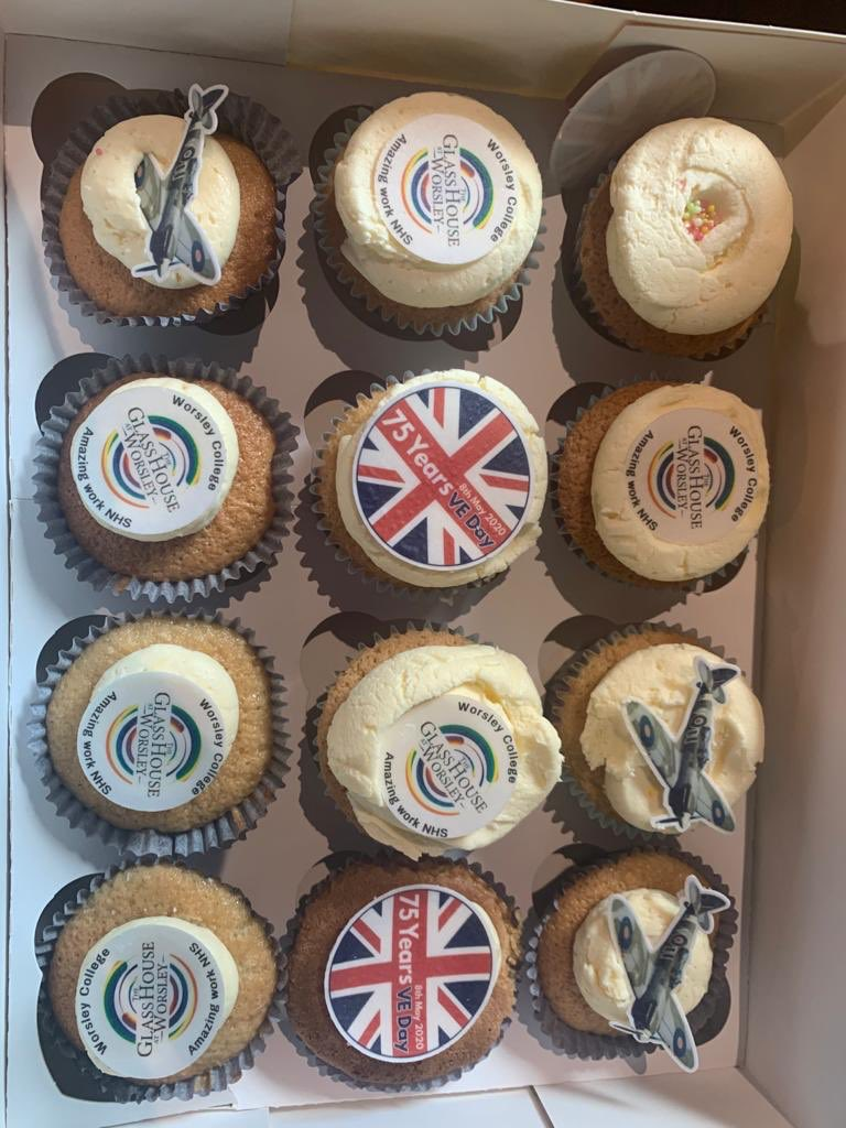 #VEDay75 Thank you to the guys at @WorsleyCollege for these amazing #VEDay cupcakes for our NHS guests. #VEDay2020