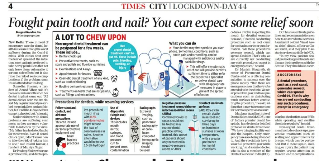 In this special @timesofindia report by @durgeshjhaTOI on #oralhealth during #lockdown, I talk about @Clove_Dentals plans to restart #dentalclinics equipped with our latest 10xSafety@Clove set of stringent protocols to ensure safety of #patients & clinical staff. Do read: