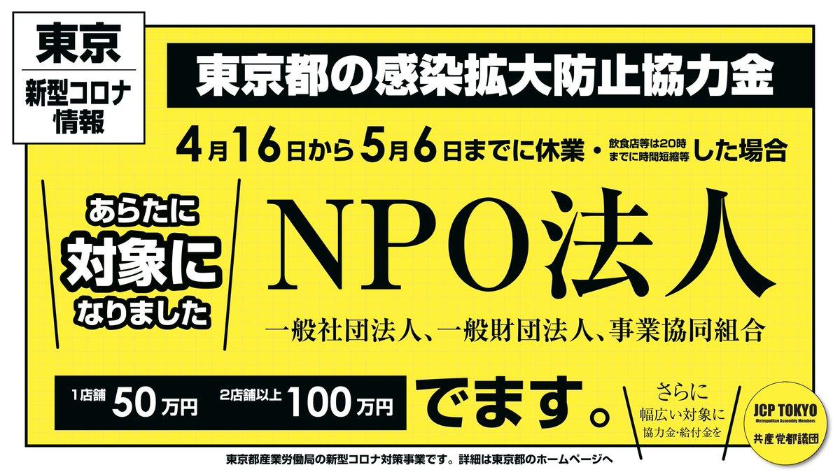 拡散、お願いします🙇♀️⤵️東京都のコロナ感染拡大防止協力金の対象がNPO 法人なども対象になりました❗例えば、英会話などの塾や囲碁や将棋のサロンなどをNPO 法人や一般財団法人、一般社団法人などで運営している場合などー💫