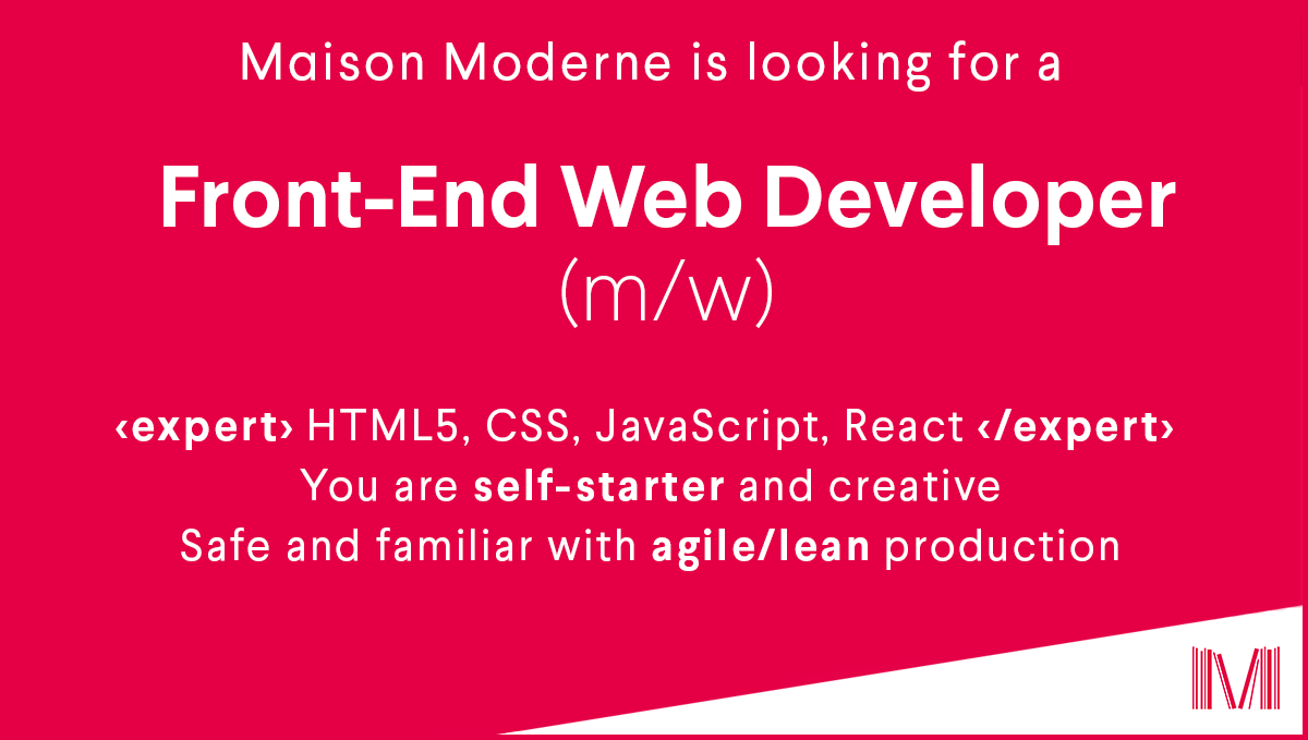 Maison Moderne On Twitter We Are Looking For A Front End Web Developer Get The Word Out All Informations About The Job Https T Co 2lrmolgl3e Jobinluxembourg Frontenddevelopment Luxembourg Https T Co Ukknujlbmg