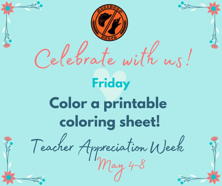 Marlboro Csd On Twitter It S Teacherappreciationweek Celebrate With Us Complete A Printable Best Teacher Ever Coloring Sheet And Email A Photo To Your Teacher To Say Thank You Parents Share Your Child S
