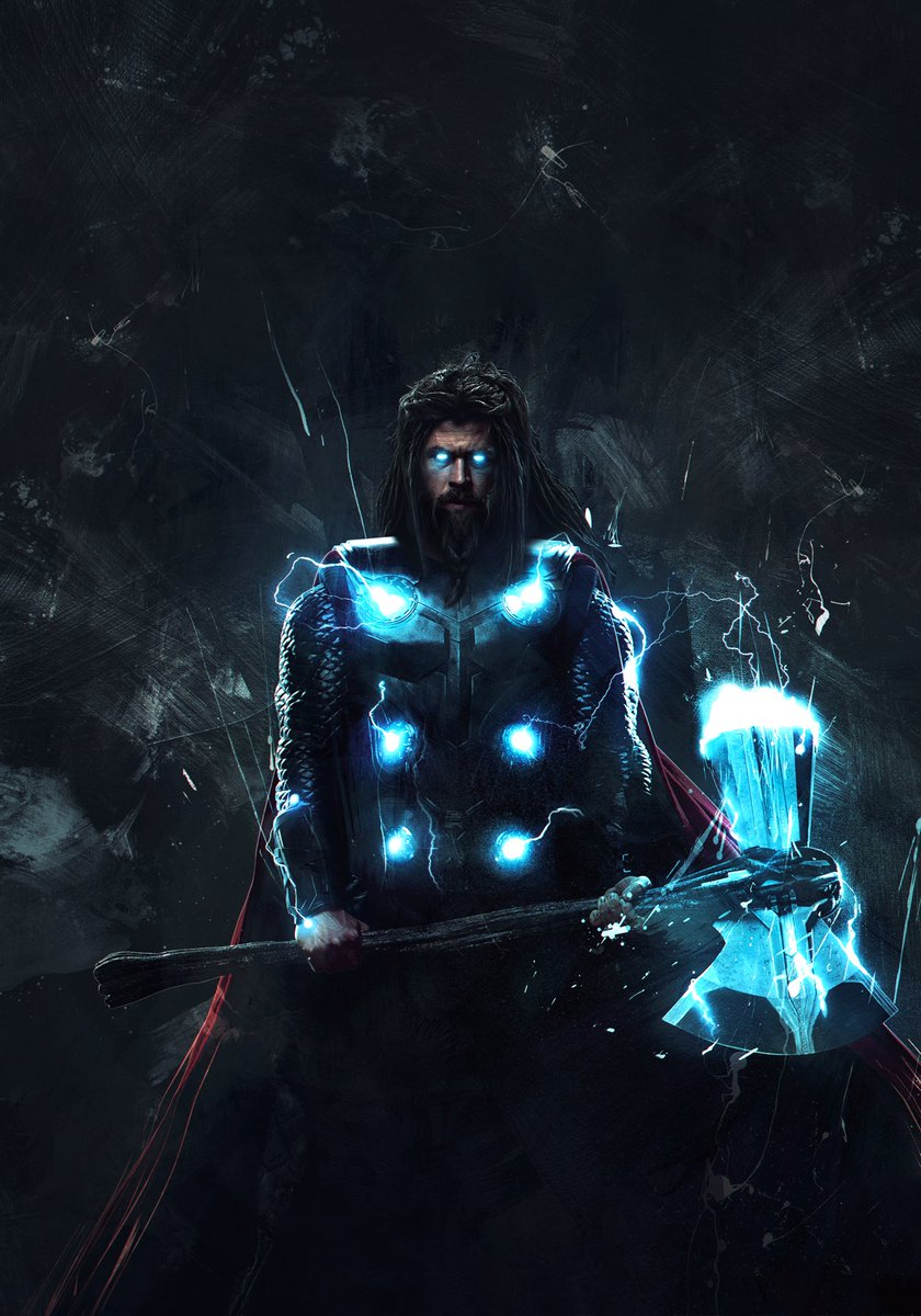 Endgame // Thor! Wanted to edit one of my favourite artworks by Marvel and give him the Endgame look. Hope you like it! @chrishemsworth #ChrisHemsworth #Thor #Thor4 #TaikaWaititi pic.twitter.com/dwBoyw71wt