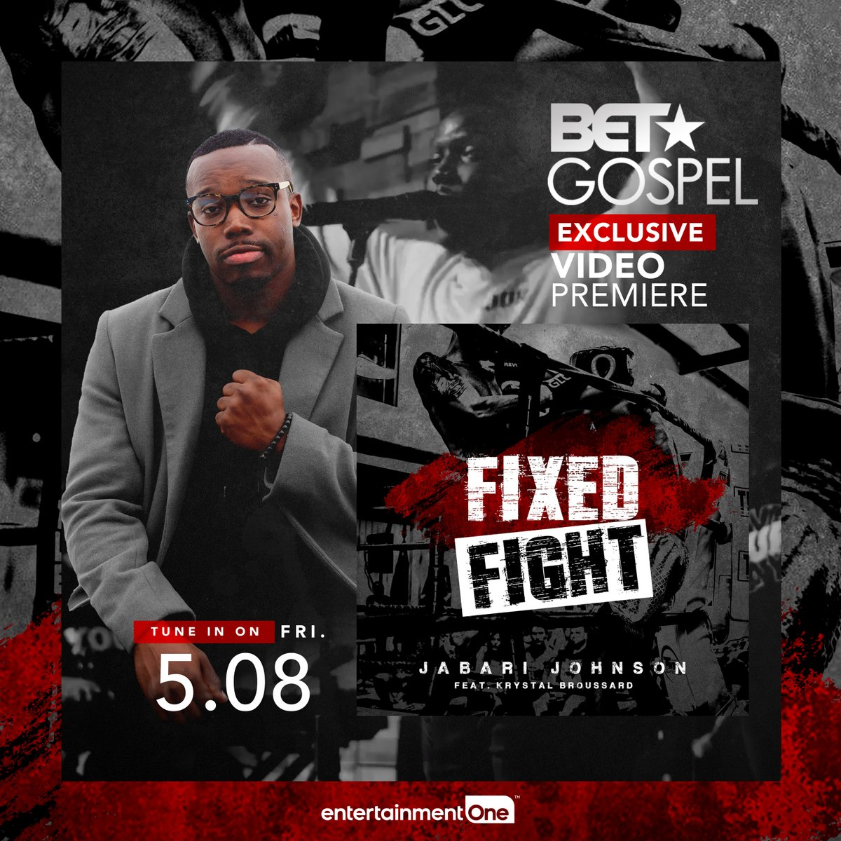 "Tune into BET Gospel for the premiere of @johnson_jabari new video ""Fixed Fight"" airing at the top of every hour until 11am EST! https://t.co/j0UTXaA0gG"