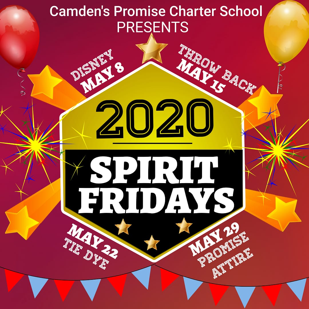 Starting today, Camden's Promise students will share their school SPIRIT during morning announcements!!  Here are our 'Virtual Spirit Friday' themes! Go Charter!! #spirit #TeamSpirit #remotelearning #remoteteaching #remoteteamwork #WeGotThis pic.twitter.com/nnSk4yF3LH