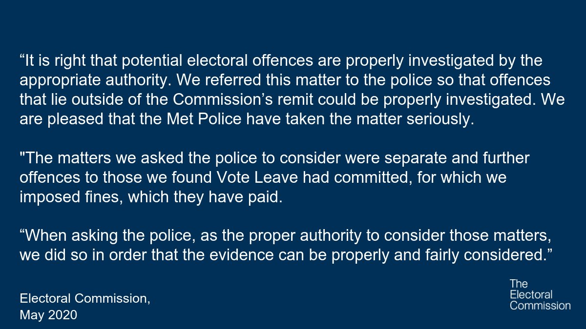 Our statement on the decision from the Met Police to close its investigation into Vote Leave and Darren Grimes: electoralcommission.org.uk/media-centre/s…