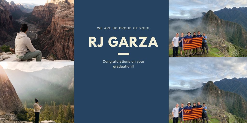 VT First-Gen Graduate Spotlight:  Today, @vt1stgen celebrates Senior RJ Garza, a Communications major, on his graduation from VT! RJ, we are very proud of you & your accomplishments! 🎉 Help us congratulate RJ on his graduation! #VTFirstGenGraduate #CelebrateFirstGen