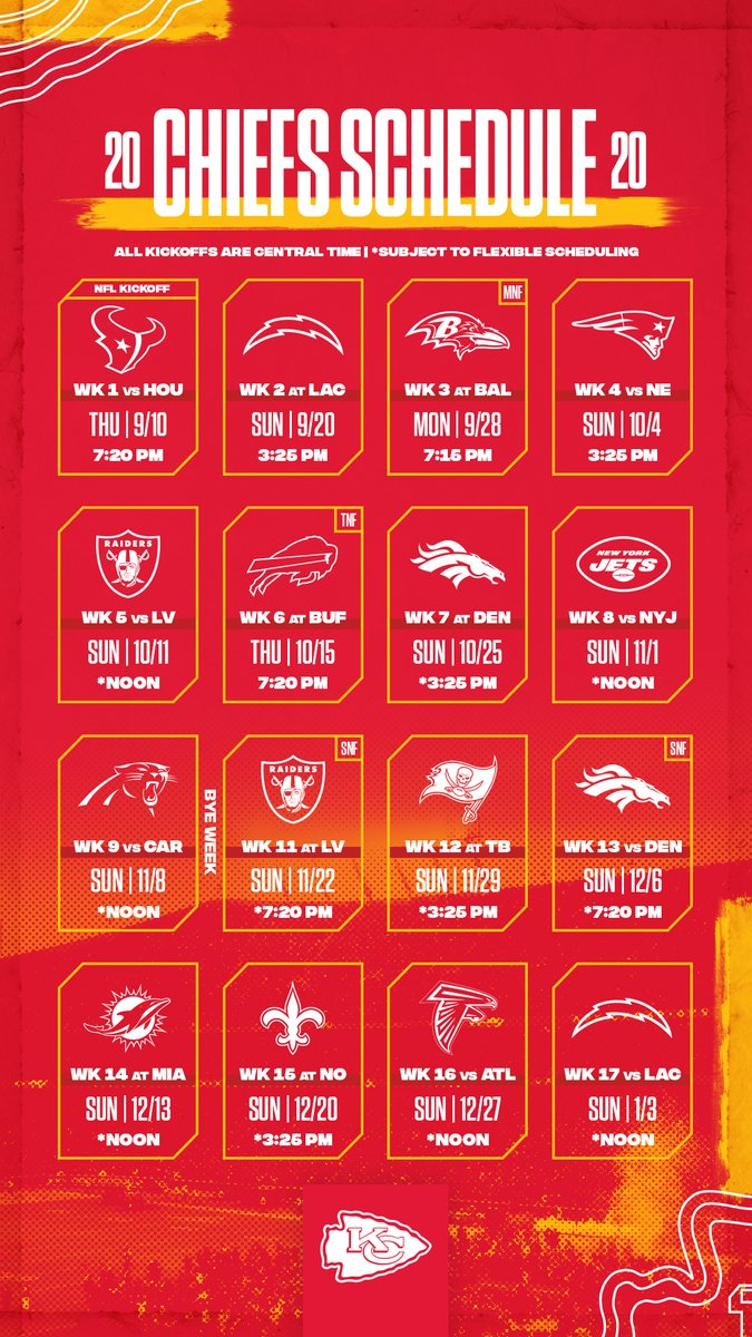 Kansas City Chiefs On Twitter Trust Us Having These Is The Easiest Way To Memorize The Schedule