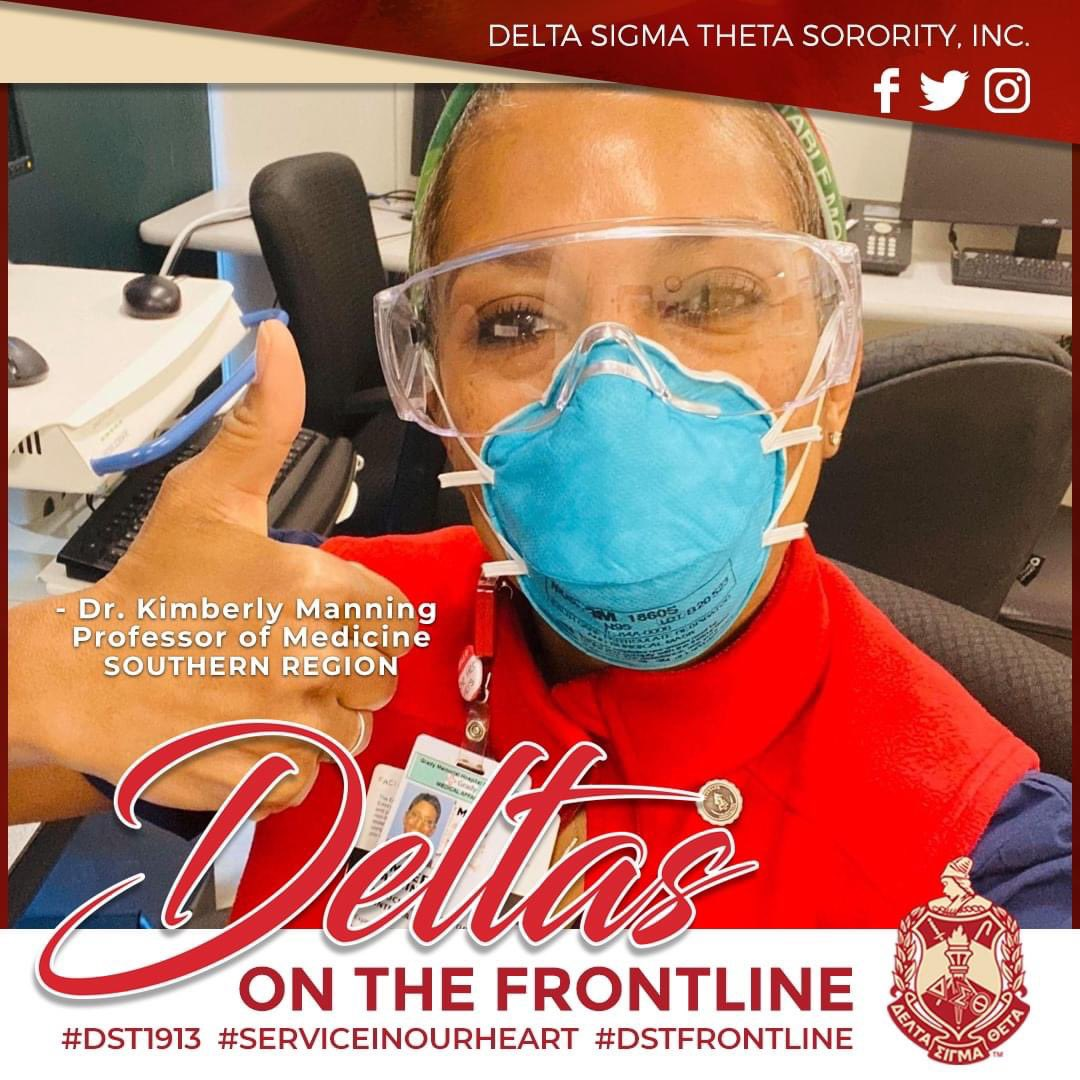 Deltas on the Frontline! We salute Dr. Kimberly Manning of Stone Mountain-Lithonia Alumnae, Southern Region. She teaches medical students at Emory University in Atlanta and trains medical residents, primarily at Grady Memorial Hospital. #DST1913 #ServiceInOurHeart #DSTFrontline<br>http://pic.twitter.com/xGSN3hXIa8