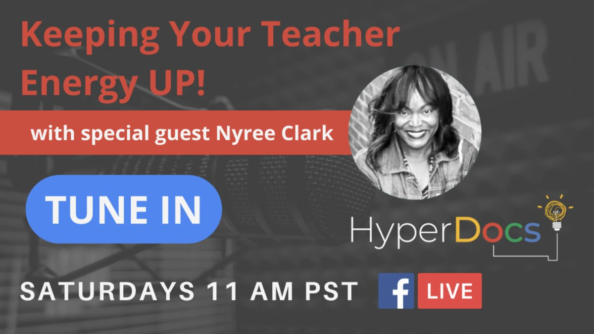 Remote teaching is hard work, but we have each other! Our FB Live event this week features the one & only @MsNyreeClark to discuss how to keep our energy up and how #hyperdocs can be a practical solution for us all, even the #K2CanToo. SATURDAY 5/8 11am bit.ly/hyperdocsfb