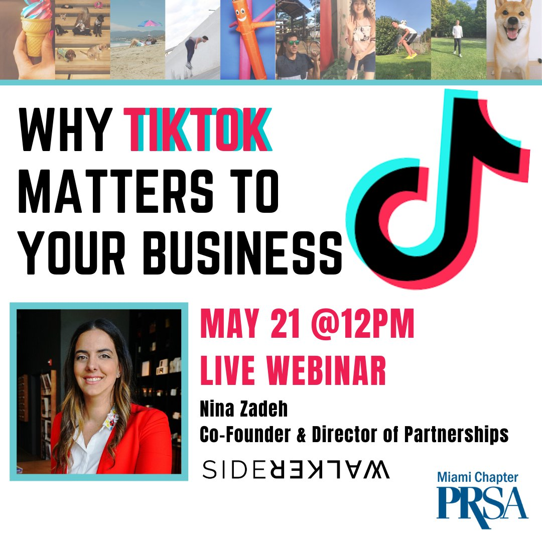 Confused about #TikTok or wonder if it's the right tool for your business or clients? Learn from Expert Nina Zadeh of @sidewalkerdaily why you need to learn about this social platform! FREE for PRSA Miami Members / $25 Guests  Register at http://prsamiami.orgpic.twitter.com/8uAfVOknFP
