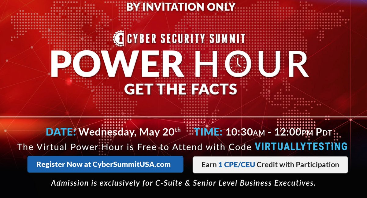The Power Hour is FREE to attend and you will receive 1 CPE Credit. RSVP with registration code VIRTUALLYTESTING at https://t.co/8yD6dn8qWf  #cybersecurity #onlineeducation #virtuallytesting #cybersecuritysummit https://t.co/kQgPRlsdpp