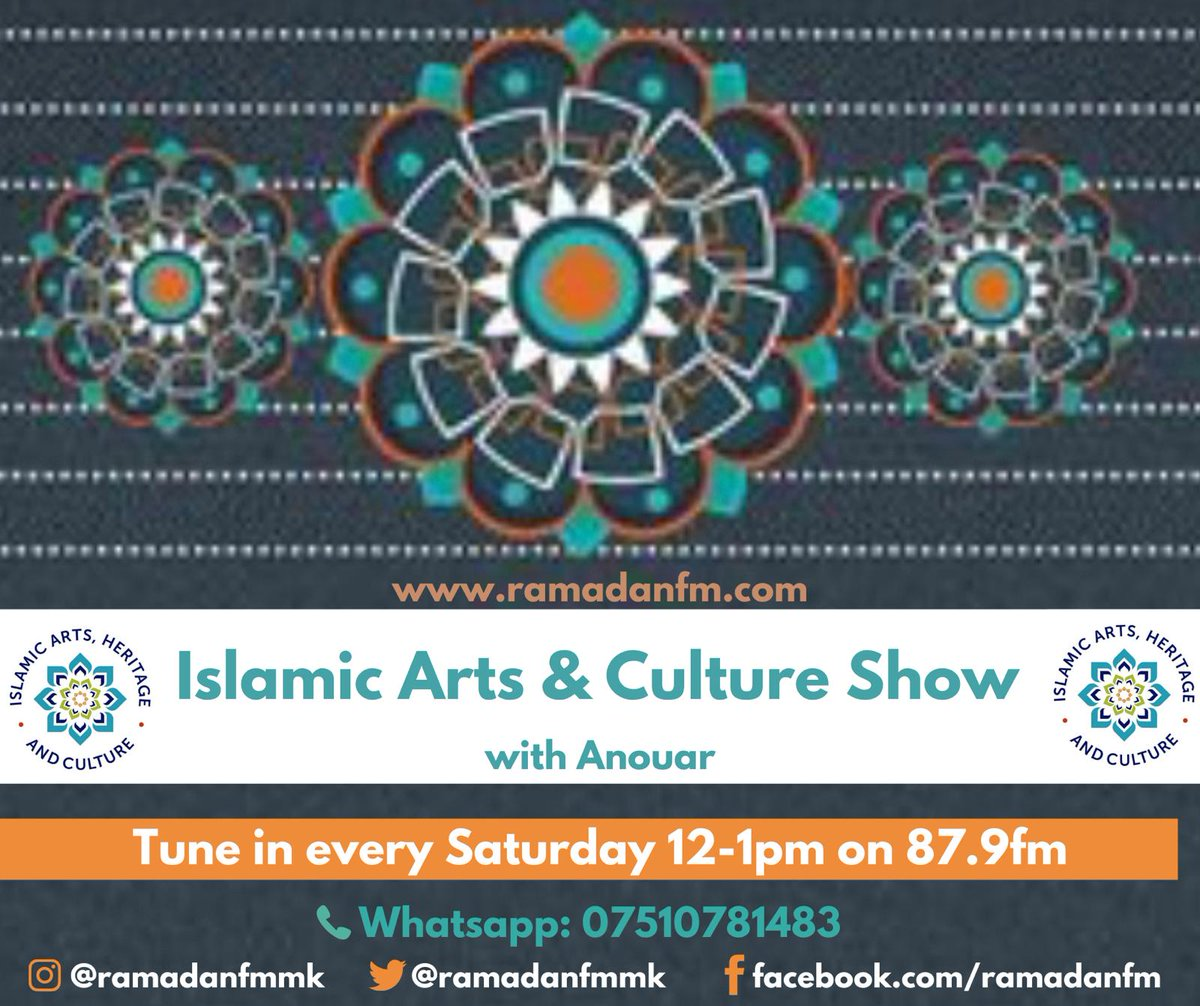 Tune in Saturday's at RFM >ARTS & CULTURE SHOW - Community in isolation with Anouar at 12.  Special guests: Mayor of Milton Keynes Sam Crooks, EMERALD Network - Rooful Ali, AASHIQ Al RASUL, CEO of MKCollege, Dr. J.Mills, Sara Hamdi: Adventures of Cultural discovery #ArtofRamadan https://t.co/0QaYP9yeDz