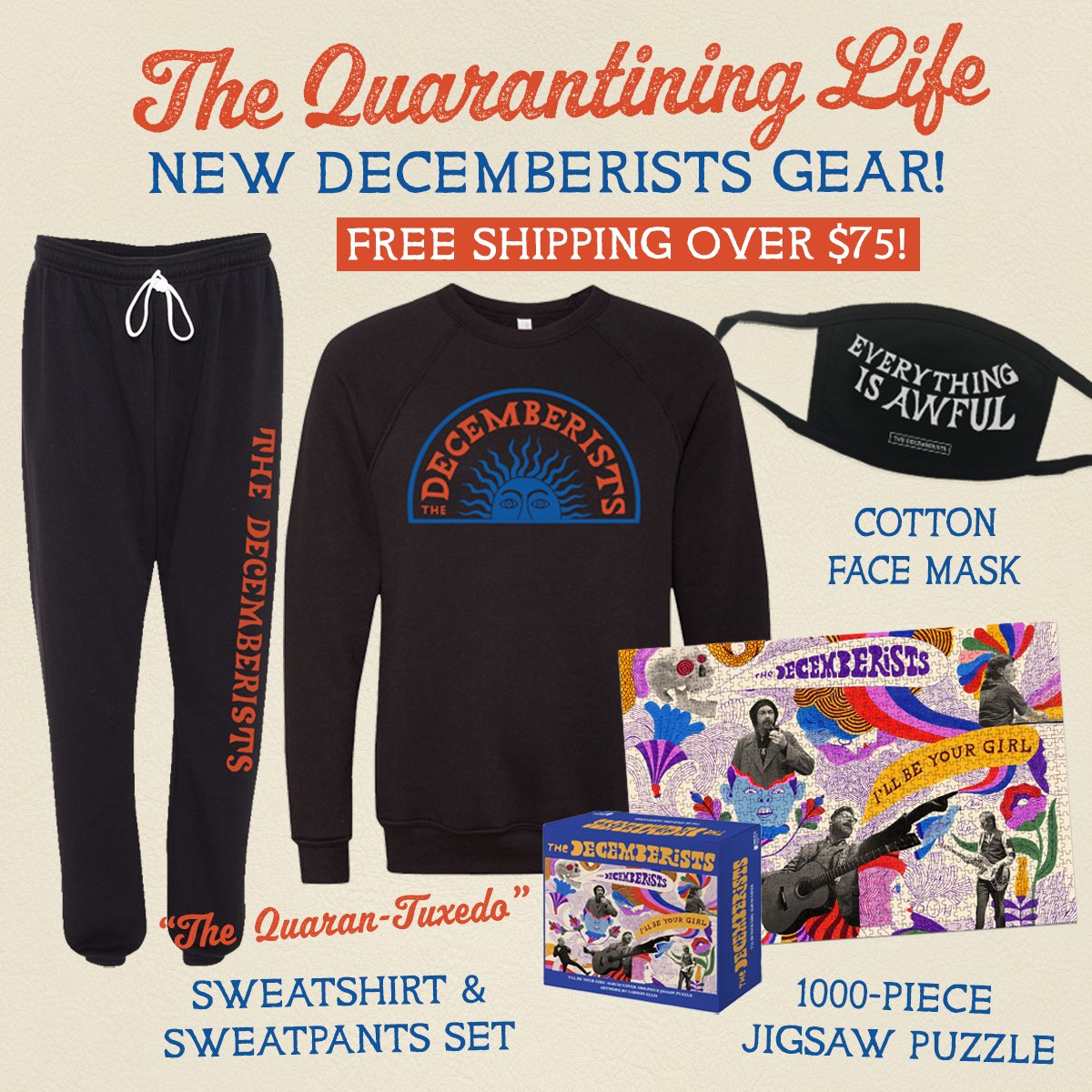 ICYMI, we've got some new merch items up for pre-order in the Decemberists shop. All orders $75+ ship FREE. Browse now at https://t.co/tQXvZF7RoB https://t.co/zC5HKFQXnz