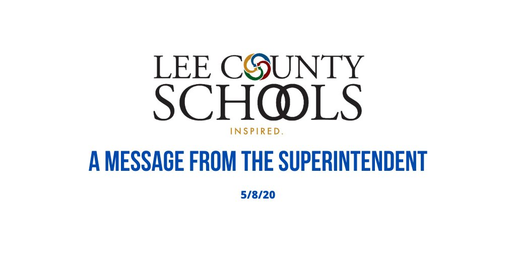 To our Lee County Schools Family:  This week we celebrate two groups of our amazing educators – teachers and school nurses! We also have information regarding graduation for the Class of 2020. View the full message at https://t.co/Q8pesIVrVq.   #LCSWeInspire https://t.co/qTDPdCxKSa
