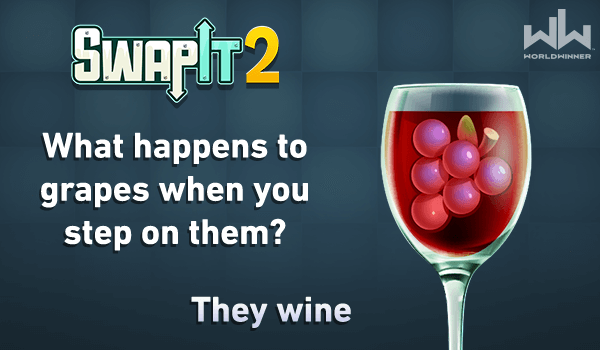 Happy #friyay! Here's your #fridayfunny!  🍇🍷😂  Play #SwapIt 2 for more fruity fun, at home or on the go! 🍊🍉🍌🍐🍓 https://t.co/LR3oGrdnvA  #FridayFun #DadJokes #CashGames #RealMoney https://t.co/zjIxcvvzOj