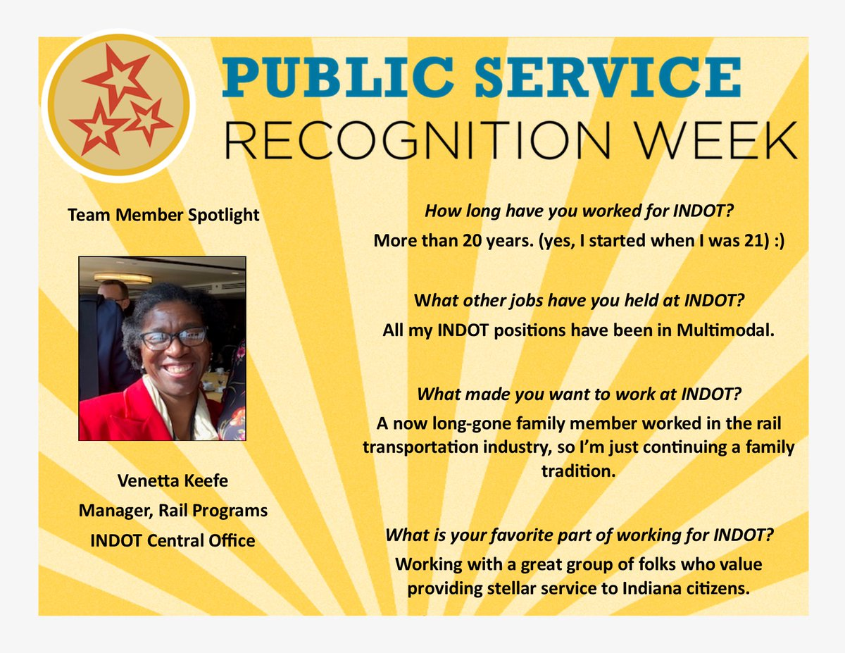 We are highlighting over 25 INDOT employees for Public Service Recognition Week! Thank you for all you do! #PSRW
