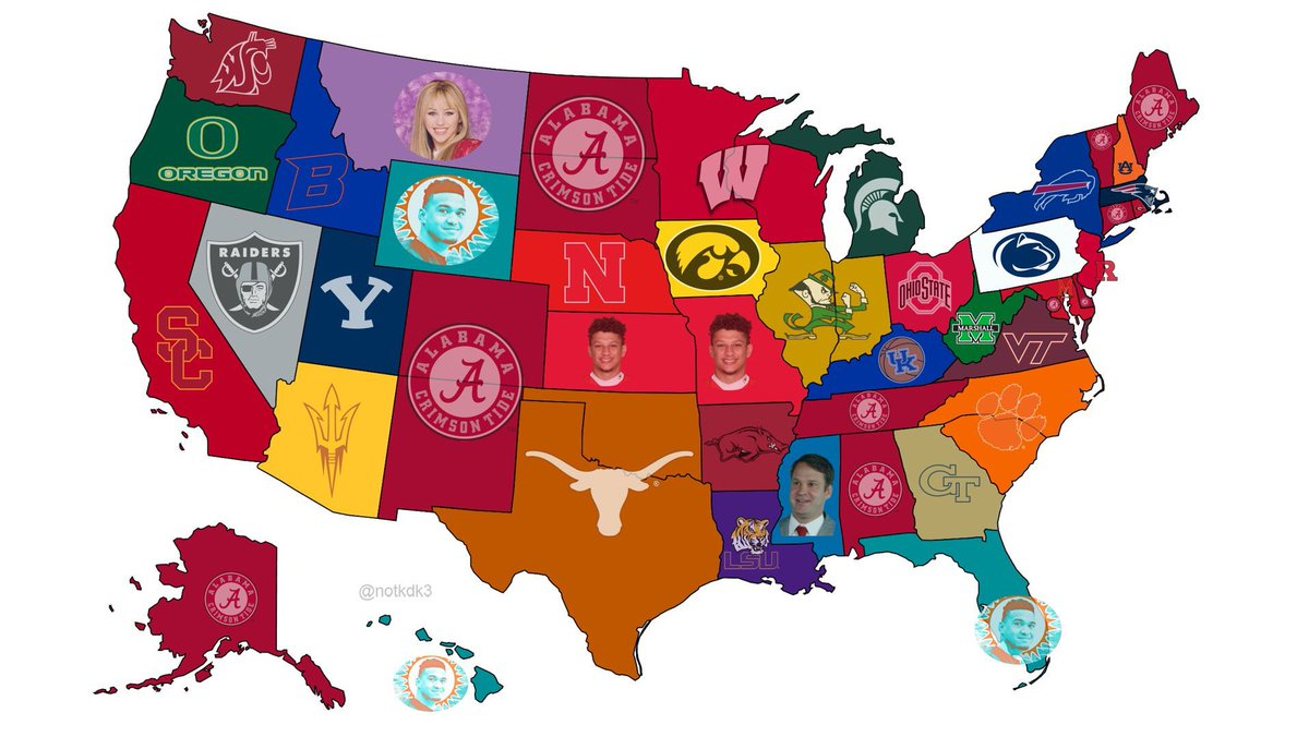 Every state's favorite cfb team based on fan's hashtag usage. https://t.co/Uum0VKFWOS