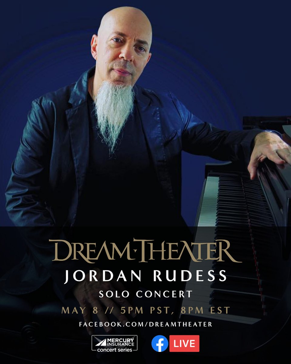 A reminder that @Jcrudess is going live on the Dream Theater Facebook page for a solo concert today (5pm PST, 8pm EST). Don't miss it!   http://facebook.com/dreamtheater  #mercuryconcertseries #jordanrudess #dreamtheater #solopiano #concertpic.twitter.com/ftOPmAvi3C