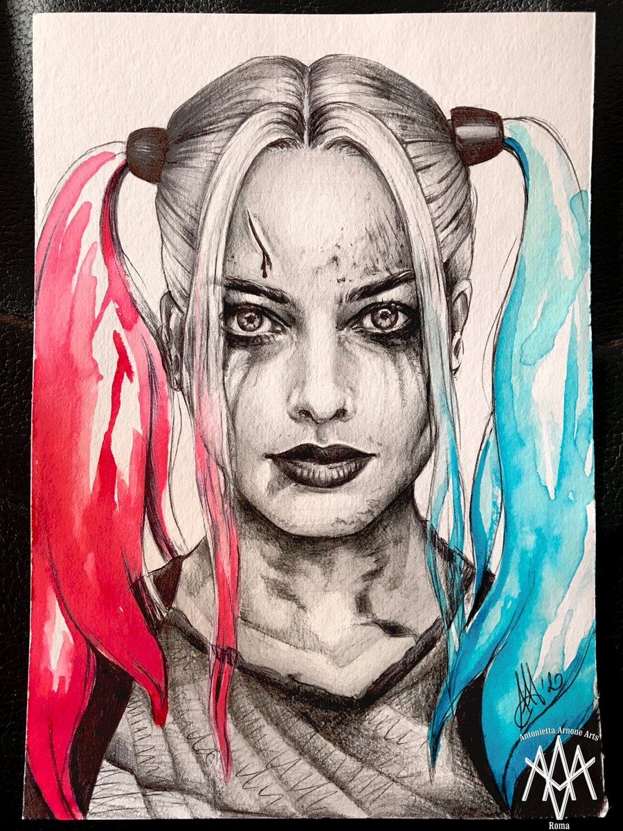 Antoniettaarnonearts On Twitter Harleyquinn Harley Quinn Margotrobbie Joker Dccomics Dc Comics Villain Portrait Fanart Margot Robbie Realistic Drawing Draw Sketch Drawingart Art Arts Disegno Ritratto Watercolor Watercolour