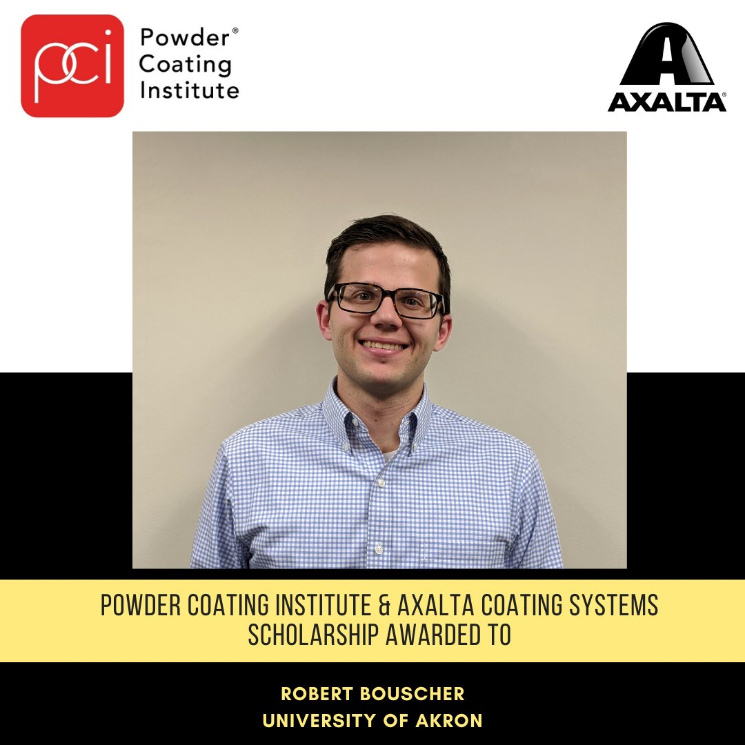 As a corporate donor for the The Powder Coating Institute (PCI), we are excited to announce the recipient of the PCI/Axalta Coating System Scholarship, Robert Bouscher!  Congratulations!  https://t.co/qfMVScGXtP https://t.co/qBSIurV388