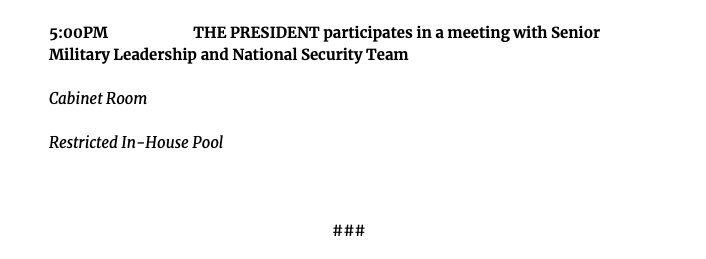 Saturday @POTUS schedule, as released by the @WhiteHouse. https://t.co/DPlLBeyJXa