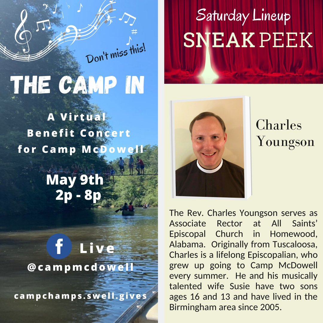 Check in and cheer for Charles at the virtual Camp In concert SATURDAY 2p - 8p!  #wonderfulwonderful #BestCampEver #champs4campmcdowell #McDowellCampInpic.twitter.com/bdjYrClHCM