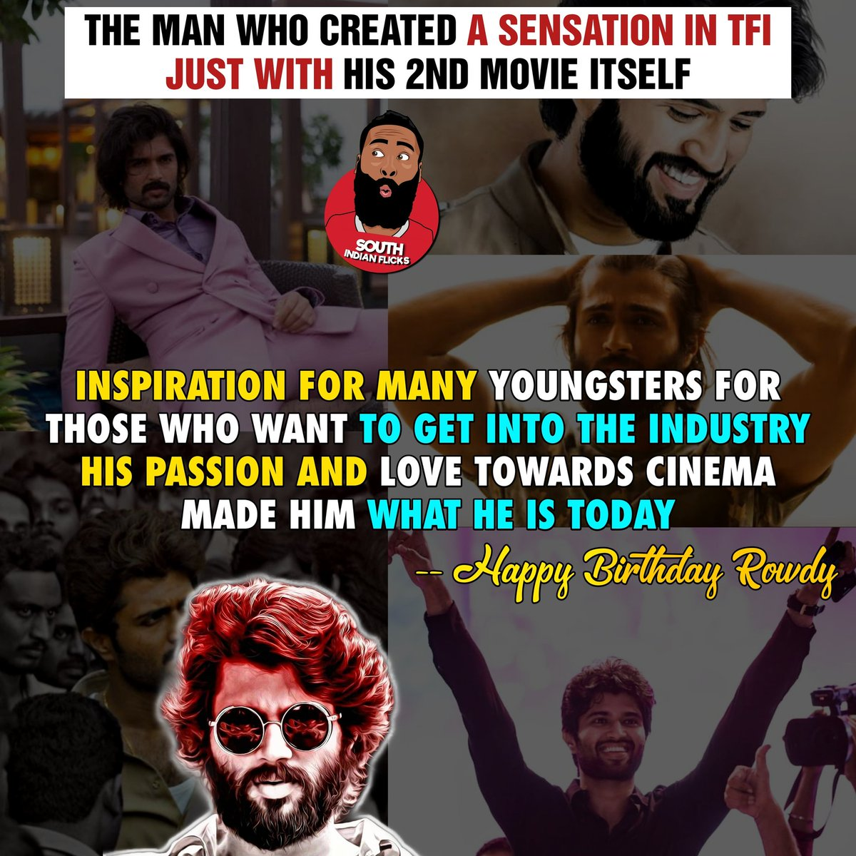 "In one sentence "" ROWDY can be trolled but can't be hated"" #HappyBirthdayVijayDeverakonda #HappyBirthdayRowdy #RowdyVijayBdayCDP #Rowdy #RowdyVijayBday #teamdeverakonda #vijayfc #VijayDeverakonda #VijayDevarakondafc #Tollywood #fighter  Do follow @SIFlickspic.twitter.com/EbV4qs9sh1"