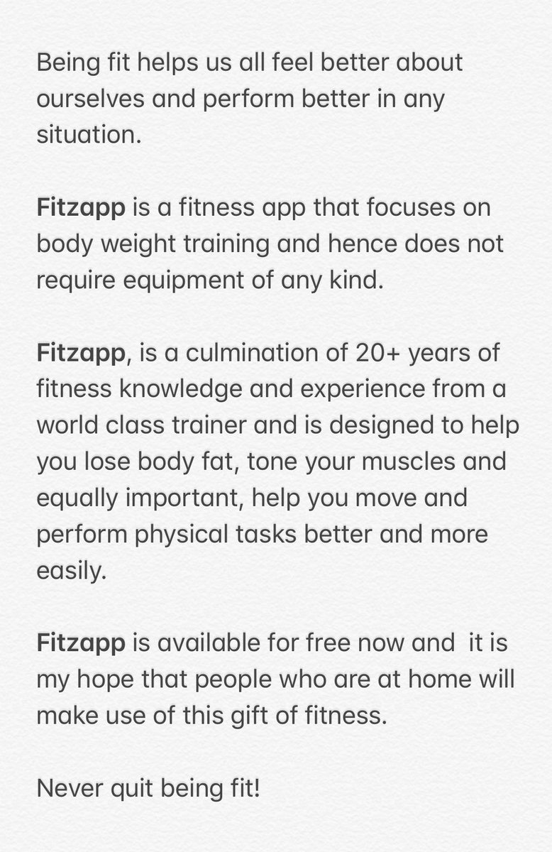 I feel proud & privileged to share #Fitzapp, an excellent fitness app, designed by a dear friend, Babu Alwarappan.  Demo: https://t.co/2Q6HNr7cJ3  iOS: https://t.co/nXDlI0UK5T  Android: https://t.co/KlWlYPyHFs  Website: https://t.co/jvSQ5955x0  Facebook: https://t.co/3Jg1qJIKPi https://t.co/jMzpSGczUQ