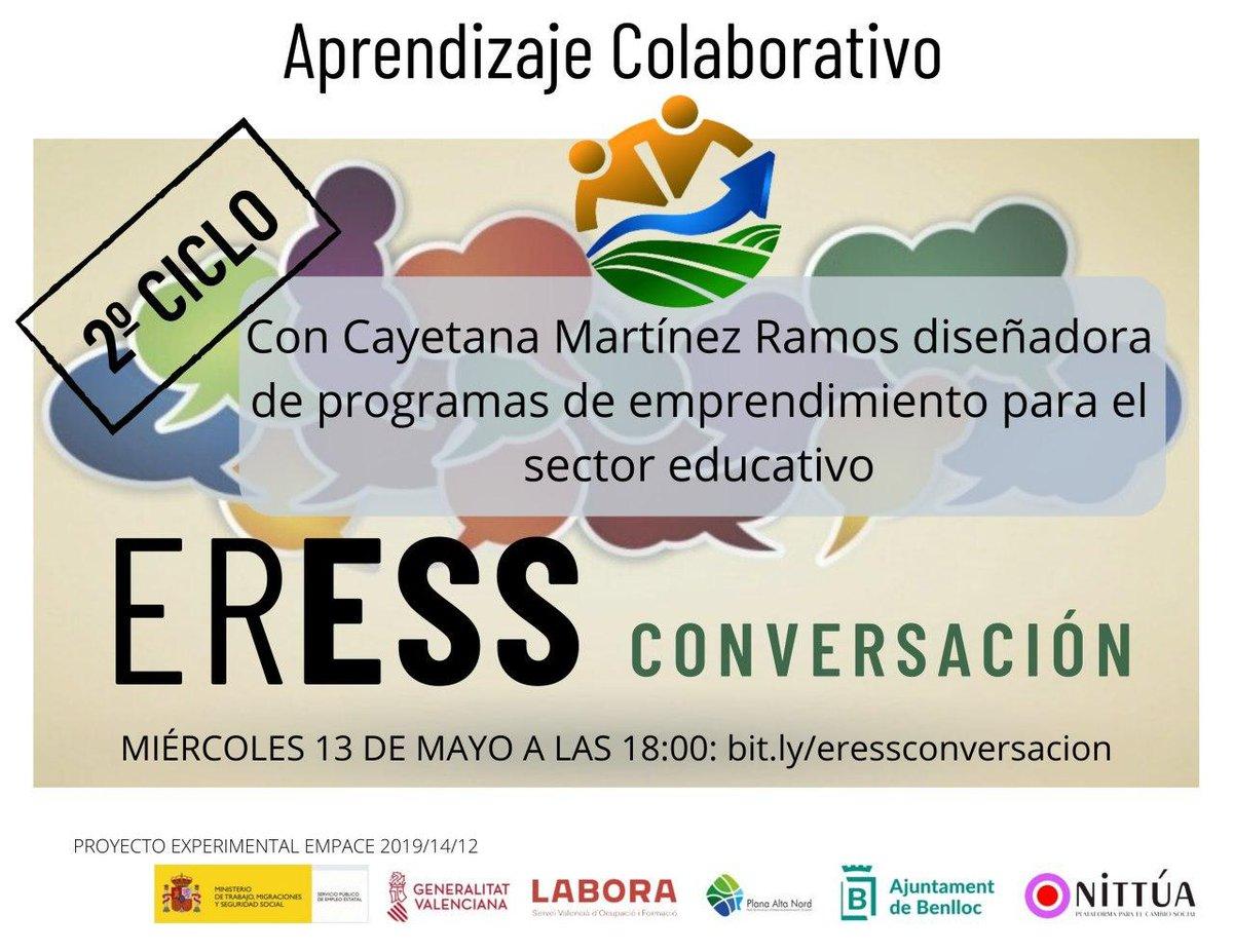 #ERESSCONVERSACIÓN nos trae el próximo miércoles 13 de mayo a las 18:00 el Aprendizaje Colaborativo acompañados por Cayetana Martínez experta en la  materia.  Os esperamos en https://t.co/ckU3lLwOLe https://t.co/yBFANkvYFI