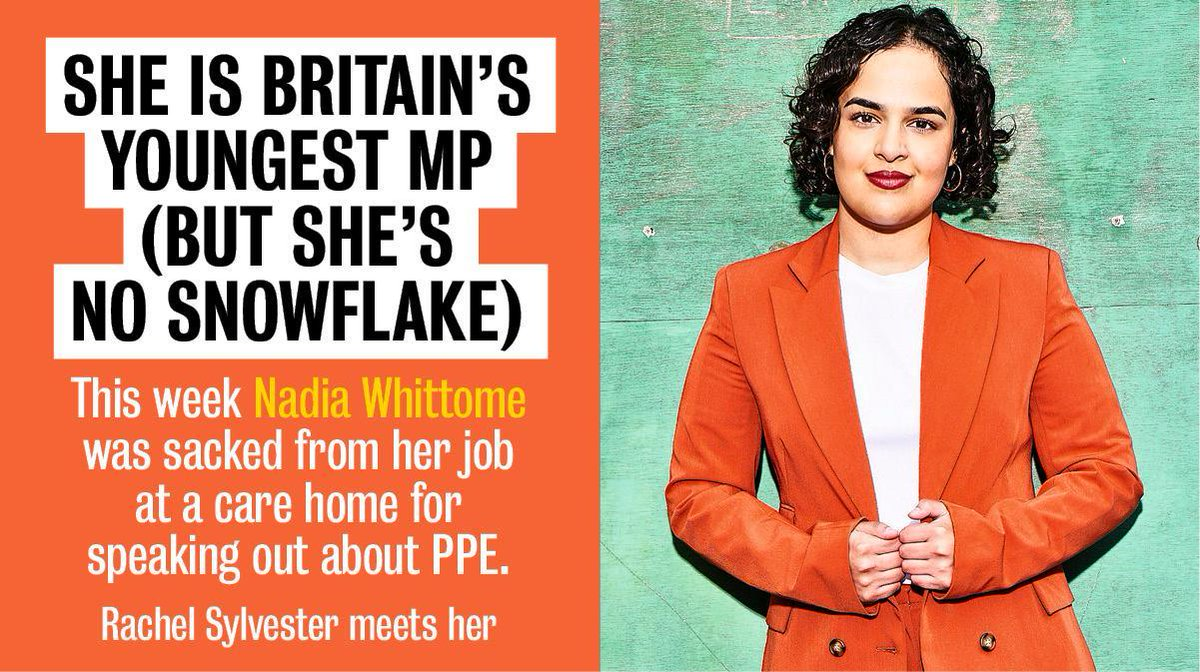 She is more at home on @houseparty than in the House of Commons, more used to caring for the elderly than walking the corridors of power. @NadiaWhittomeMP tells us how she became a politician at 23 https://www.thetimes.co.uk/article/nadia-whittome-britains-youngest-mp-on-her-sacking-as-a-frontline-carer-87bj27jhk… #mp #ppe #youngpolitician pic.twitter.com/8SldsJsOvq