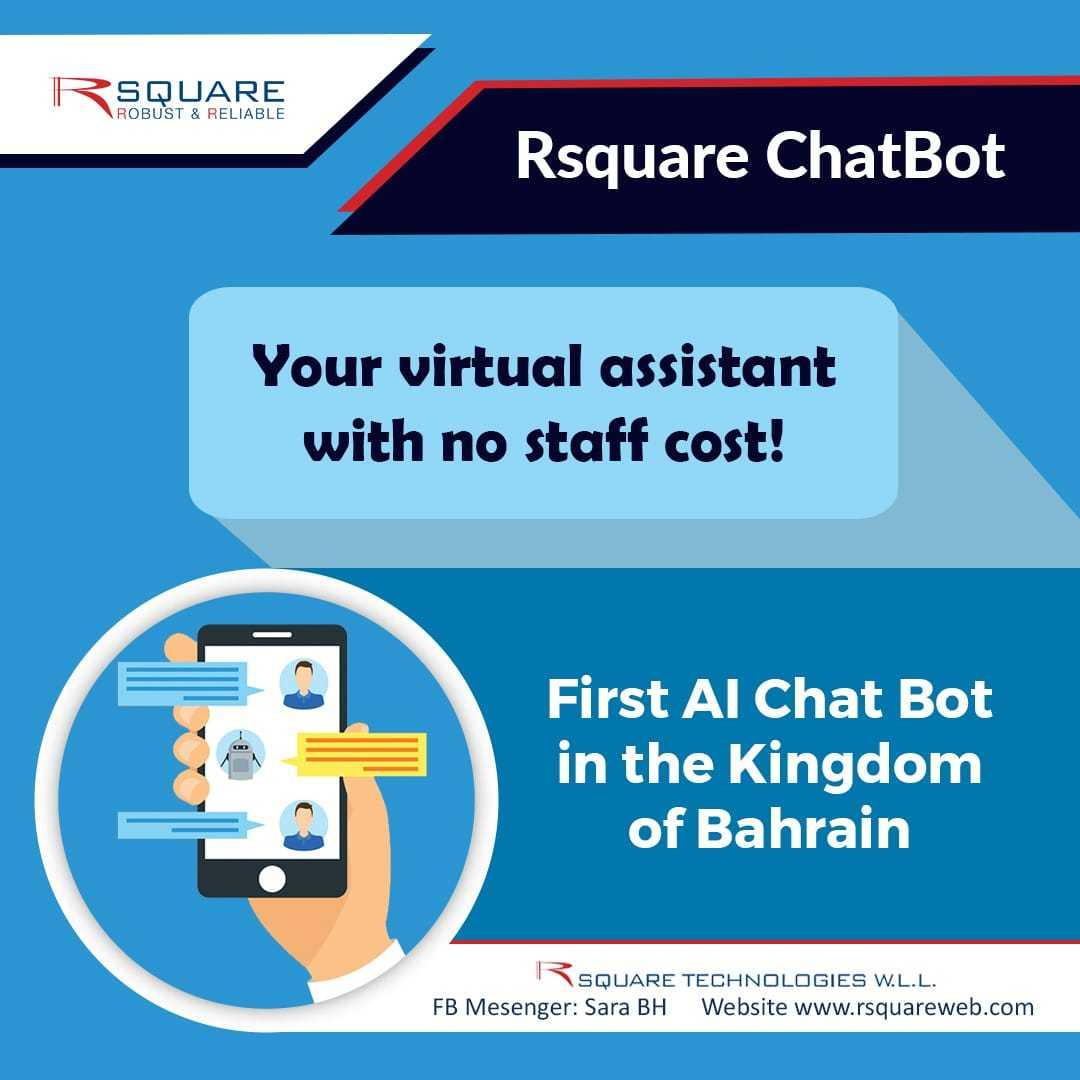 Intelligent virtual assistant/Digital employee available 24x7 for non-stop customer service.. Please call us for chatbot demo-17720850/info@rsquareweb.com #rsquare #bahrainfintechbay #bahrain #AI #business #virtualassistant #chatbot #banks #insurance #staysafe #stayhome https://t.co/WUsWQlKgRC
