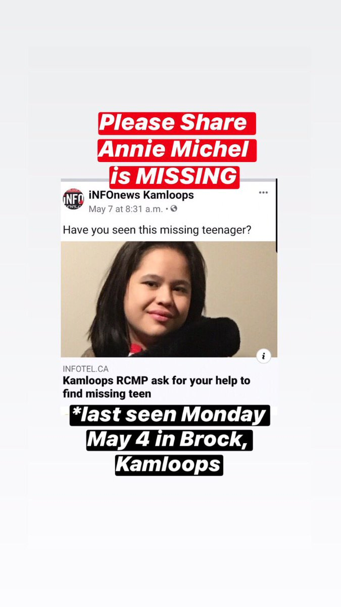 MISSING - Annie Michel, 16yrs old. Last seen May 4. Please Share https://t.co/0Pmtf6YGCS