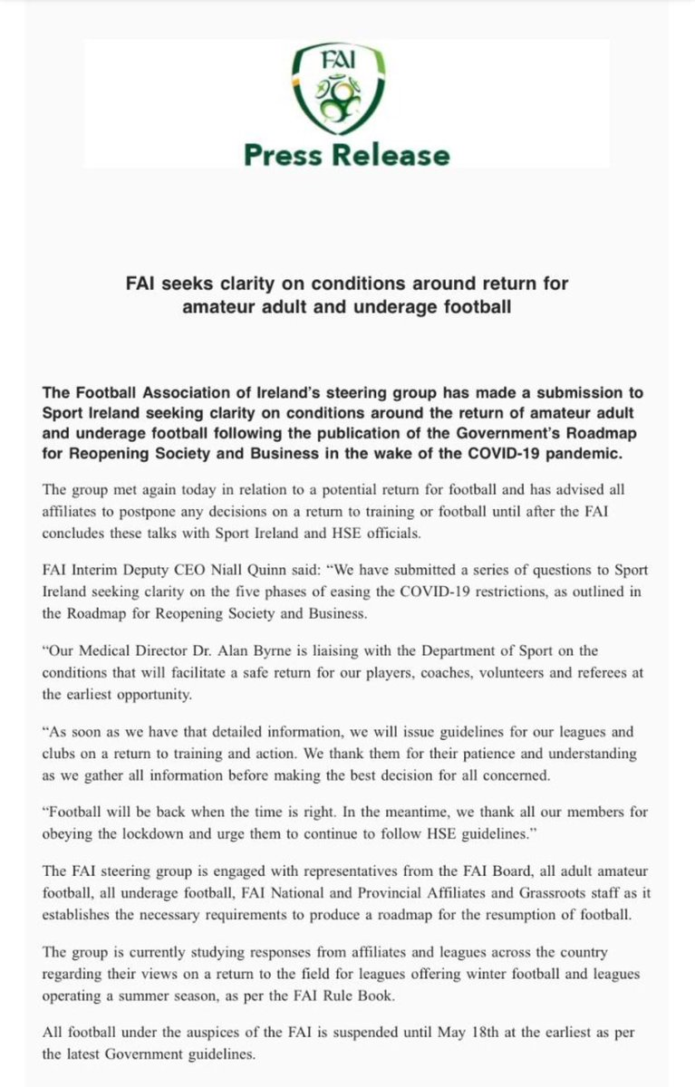 Fai latest press release in relation to amateur adult and underage football.