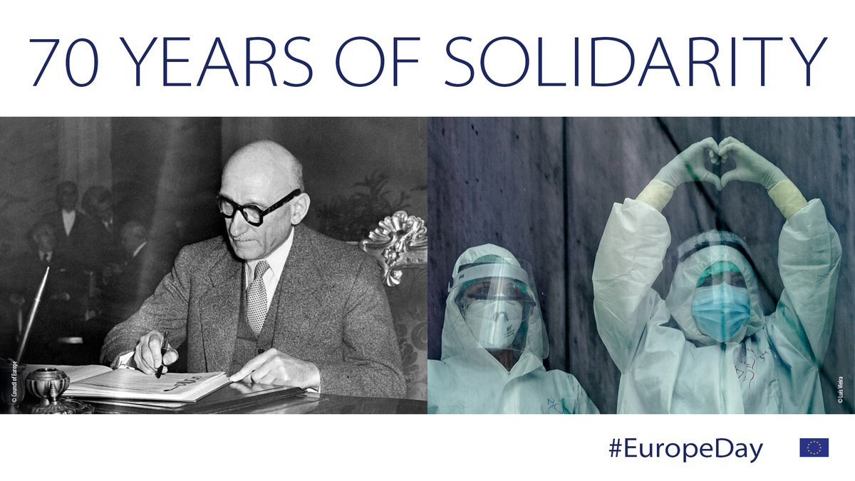 Happy #EuropeDay 🇪🇺! Today marks the 70th anniversary of the Schuman Declaration. We believe Europe is #StrongerTogether, and that solidarity is as important as ever. #TogetherweareEUrope #UnitedAgainstCoronavirus https://t.co/iPZWyCXaks