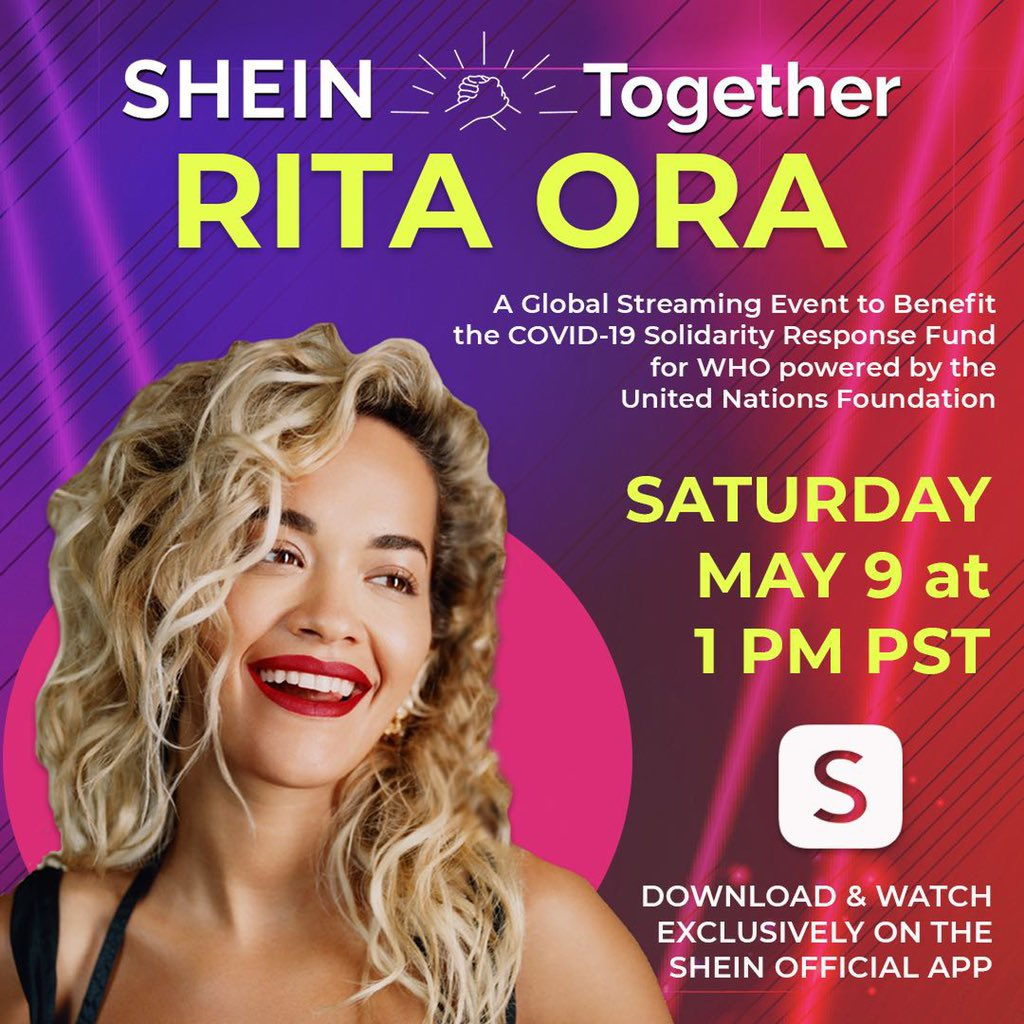 Today is the day! Download the @sheinofficial app and watch #SHEINtogether at 1pm PST 🥰❤️❤️❤️ https://t.co/Ha9ObvRTsC   #Covid19Fund @WHO @unfoundation #SHEINpartner https://t.co/s8NbVjPCIB