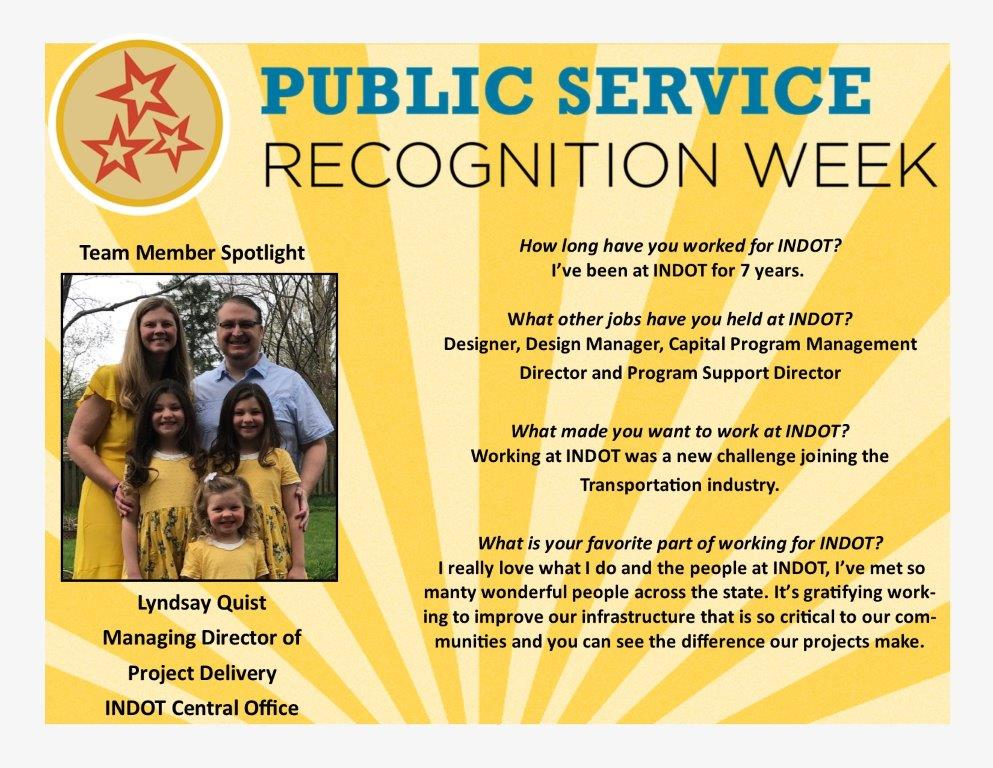 Today wraps up Public Service Recognition Week! Be sure to check out all of our posts from this past week highlighting INDOT employees! #PSRW