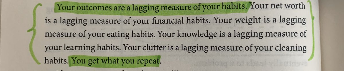 """Another great point by @JamesClear, """"Your outcomes are a lagging measure of your habits."""" 👌🏼"""