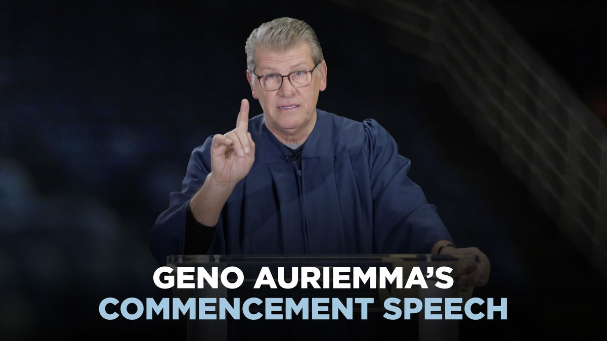 .@UConnWBB Coach Geno Auriemma addressed the Class of 2020 in a Virtual Commencement, but he didnt give your typical commencement speech. Check out what he had to say to #UConn20🎓