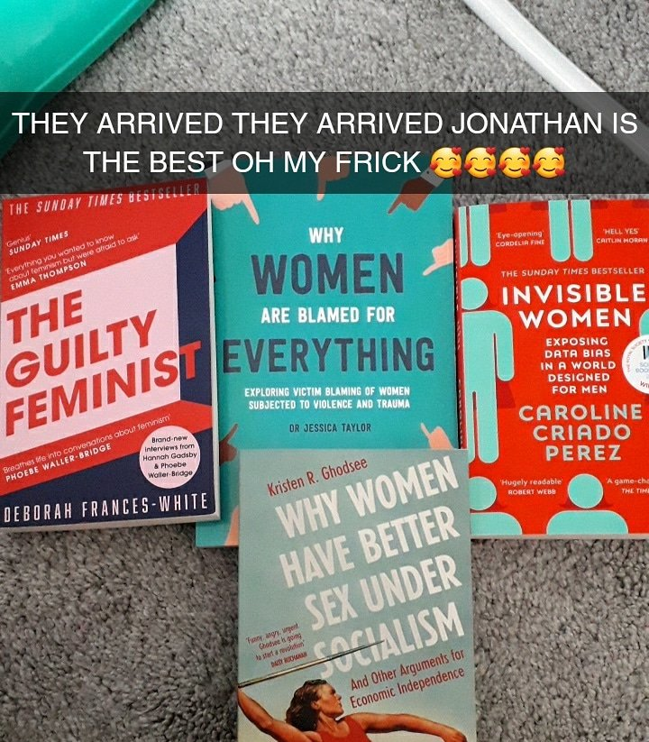 Click!!! #boyfriend #feminism #feminist #theguiltyfeminist #deborahfranceswhite #invisiblewomen #carolinecriadoperez #whywomenhavebettersexundersocialism #whywomenareblamedforeverything #jessicataylor #bookstagram #reading #education #lockdownukpic.twitter.com/TcSnjOBEbz