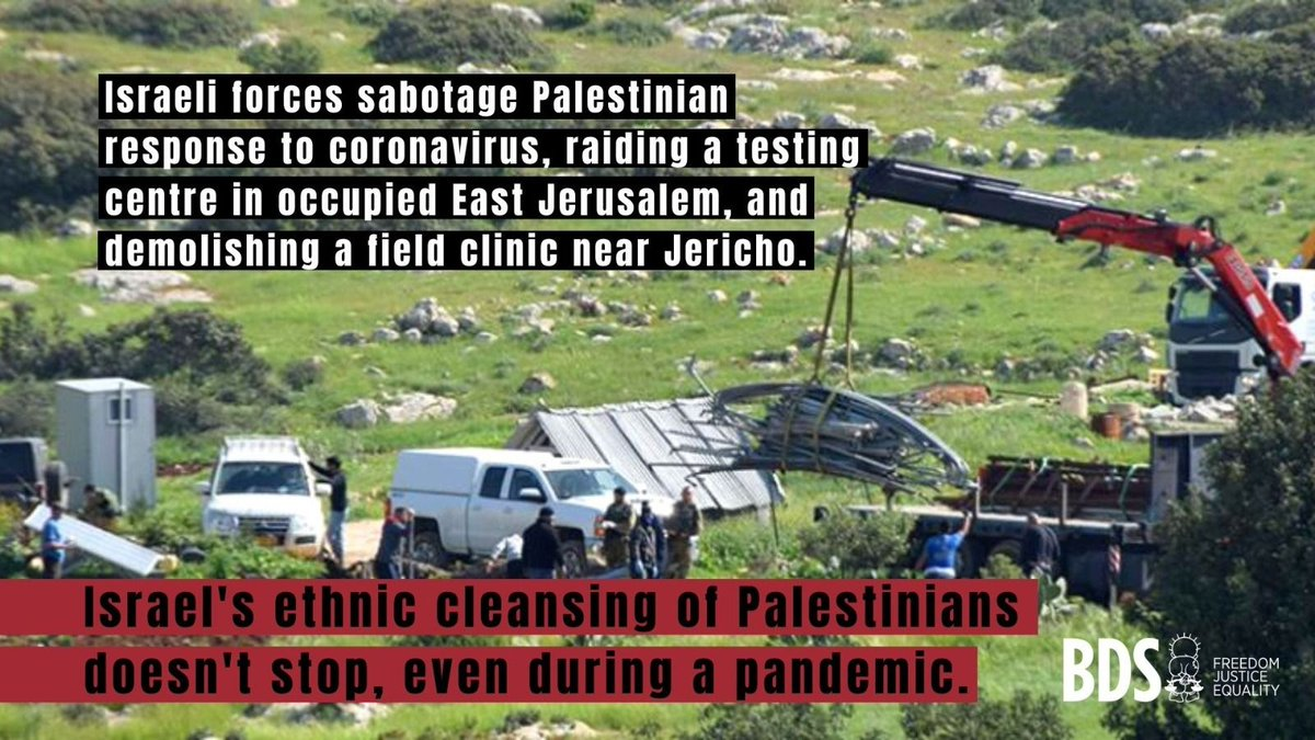 As Palestinians mobilize to fight #COVID19, Israel continues to target us, even closing down Palestinian health centers.   Israel's response to the pandemic embodies #CoronaRacism. https://t.co/YpIDFzgBCy