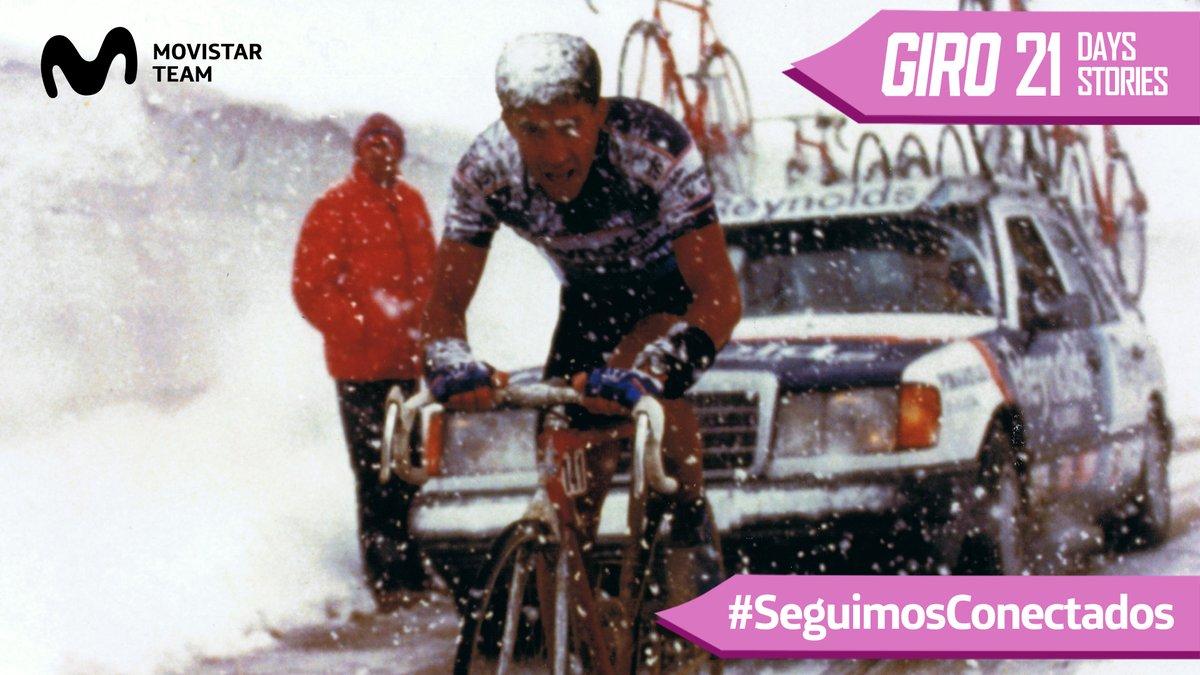 💗🇮🇹2️⃣1️⃣ #Giro: 21 Días, 21 Historias (I) #SeguimosConectados   La estructura del actual Movistar Team tiene 24 apariciones en el @giroditalia, que habría empezado hoy en Budapest. Debut en 1988, el año de la célebre etapa del Gavia ❄️ @pedrodelgadoweb acabó 7º en la general. https://t.co/kYJk0FG7MR