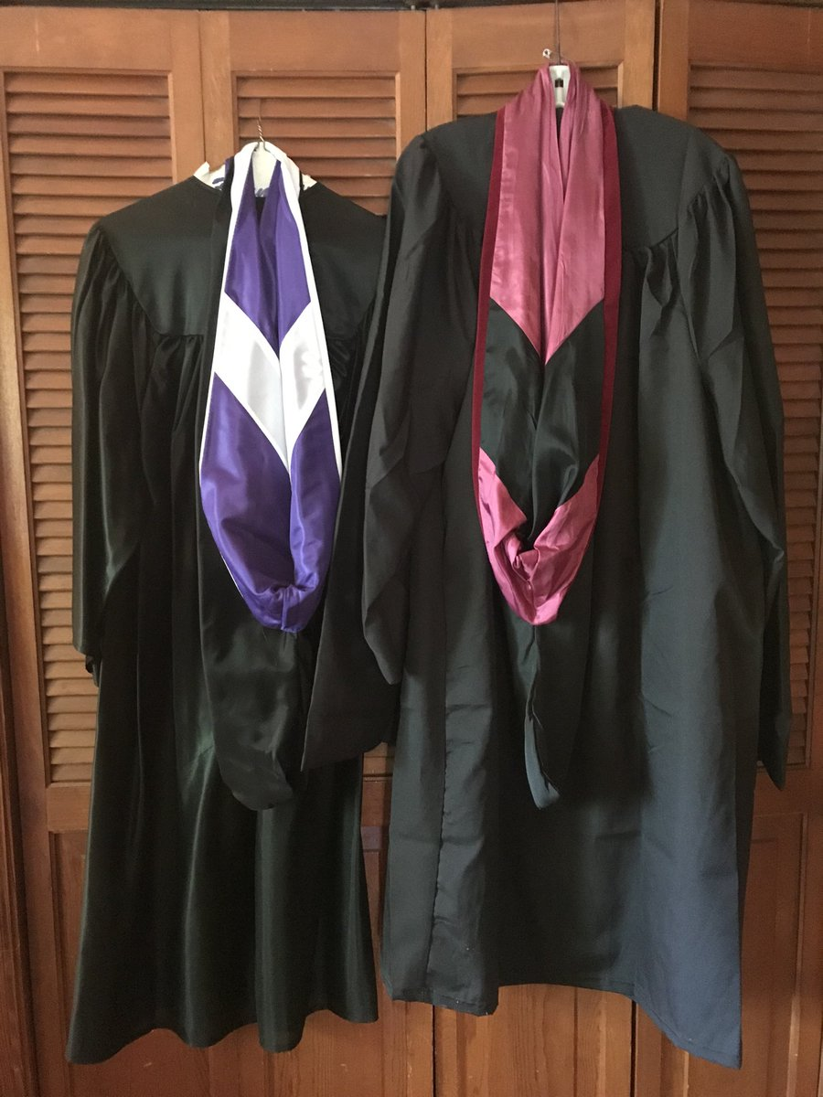 Displaying the regalia today in honor of my two alma maters. @FurmanU @UofSC